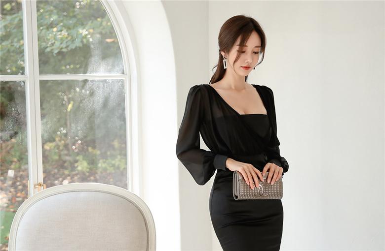 韩国名模孙允珠写真图包:曼莎童话纯黑雪纺飘绢包臀裙