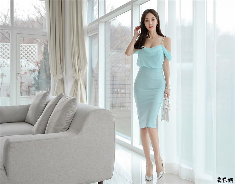 韩国模特孙允珠高清图片:凡尔赛宫廷蓝萤薄荷梦彩礼裙 (20P)