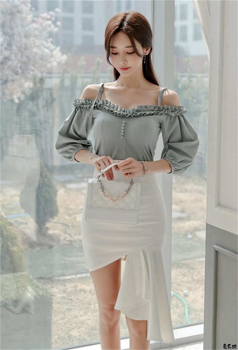 韩国名模孙允珠:琉璃梦萦青丝苔色夏荷吊带裙 (19P)