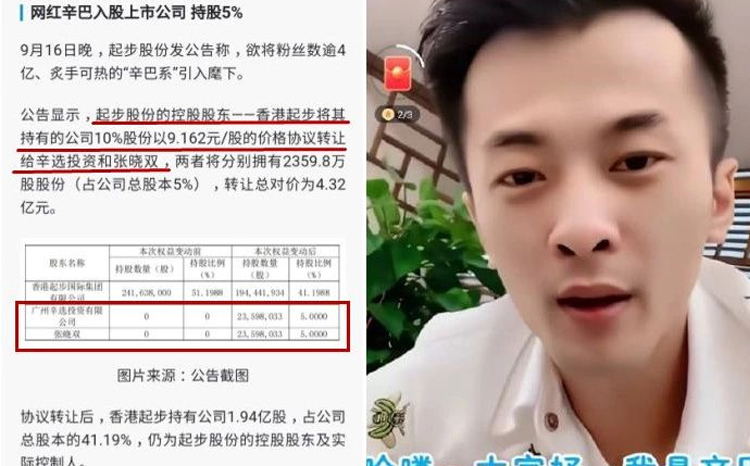 辛巴大手笔出资2亿元入股香港上市公司成新股东!