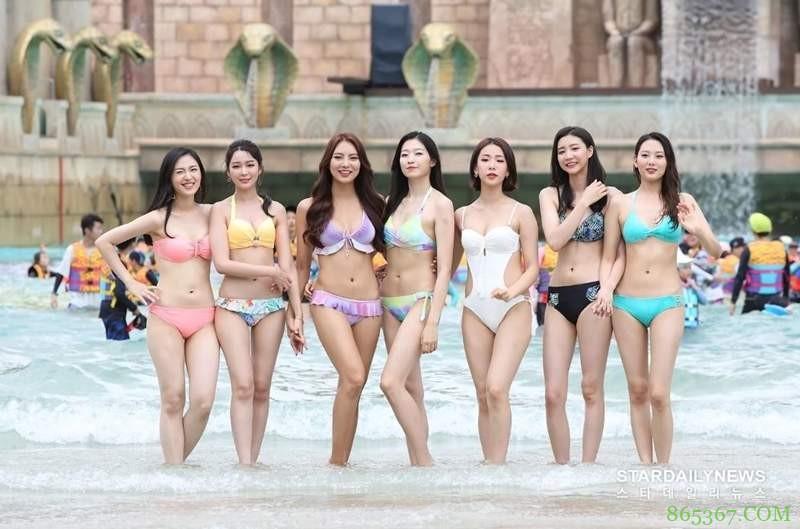 2018年韩国小姐泳装照引发热议 爆乳佳丽戏水上演湿身诱惑