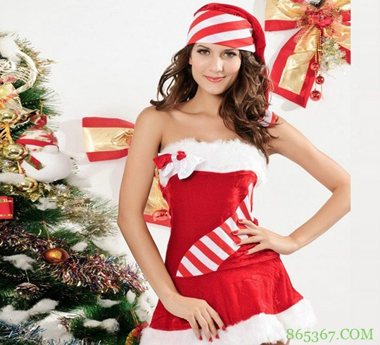 性感红色圣诞女郎 美女圣诞装前凸后翘令人好性福