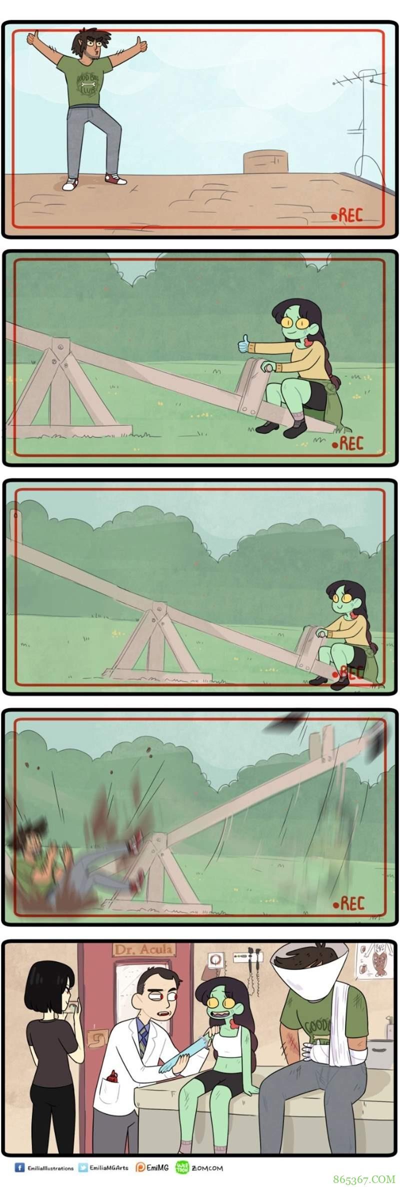 网络漫画《Zomcom》 僵尸和狼人会怎么样