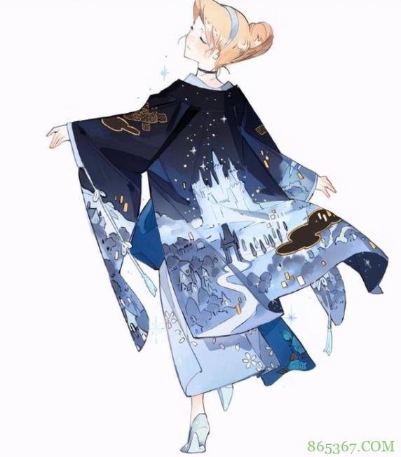 当迪士尼公主换上和服,贝儿换上黄杉,艾莎女王居然穿青衣?