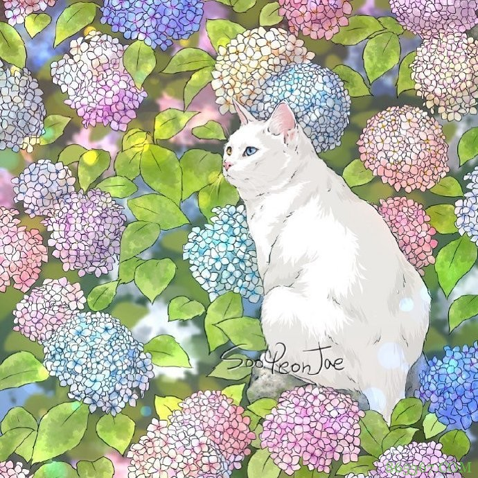 当猫咪遇上大自然,这位画师绘制的图好治愈