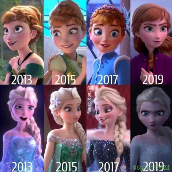 网友分享迪士尼公主历年造型变化,艾莎日渐严肃,木兰扮相多变