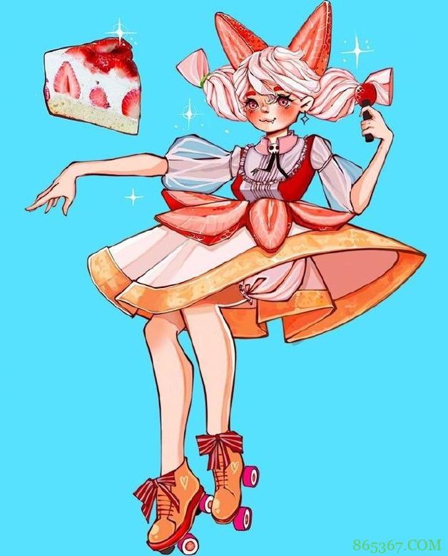 画师大佬绘制食物拟人,草莓蛋糕换上lo装,披萨的打扮我欣赏不来