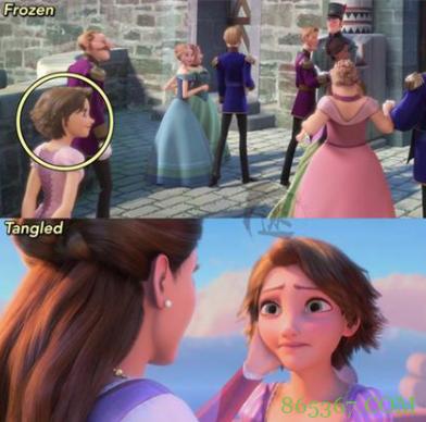 网友分享迪士尼的彩蛋和穿帮,乐佩乱入冰雪奇缘?