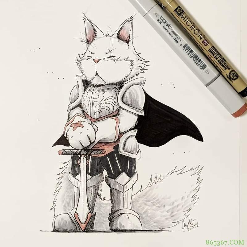 RPG职业喵星人 高冷猫咪插画角色扮演游戏