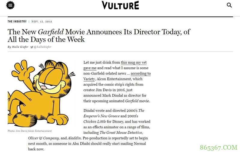 《加菲猫》将拍全新动画电影 世界上最红胖橘猫要回归发