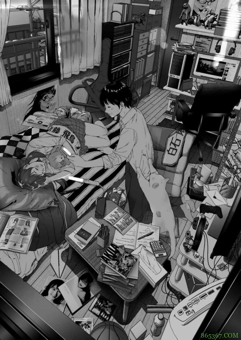 黑白插画《宅男宅女的日常》 宅在家不出门也过的很甜蜜
