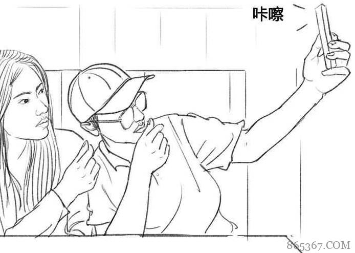 搞笑漫画《电车奇缘》 帅哥求美女合影背后原因令人恐怖