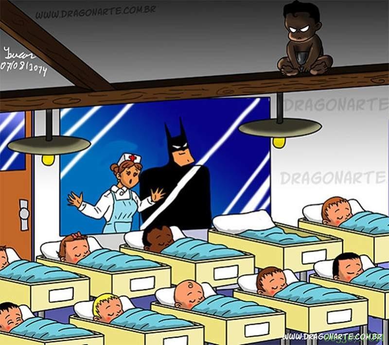超级英雄的熊孩子搞笑插画 金钢狼孩子从小会抽烟