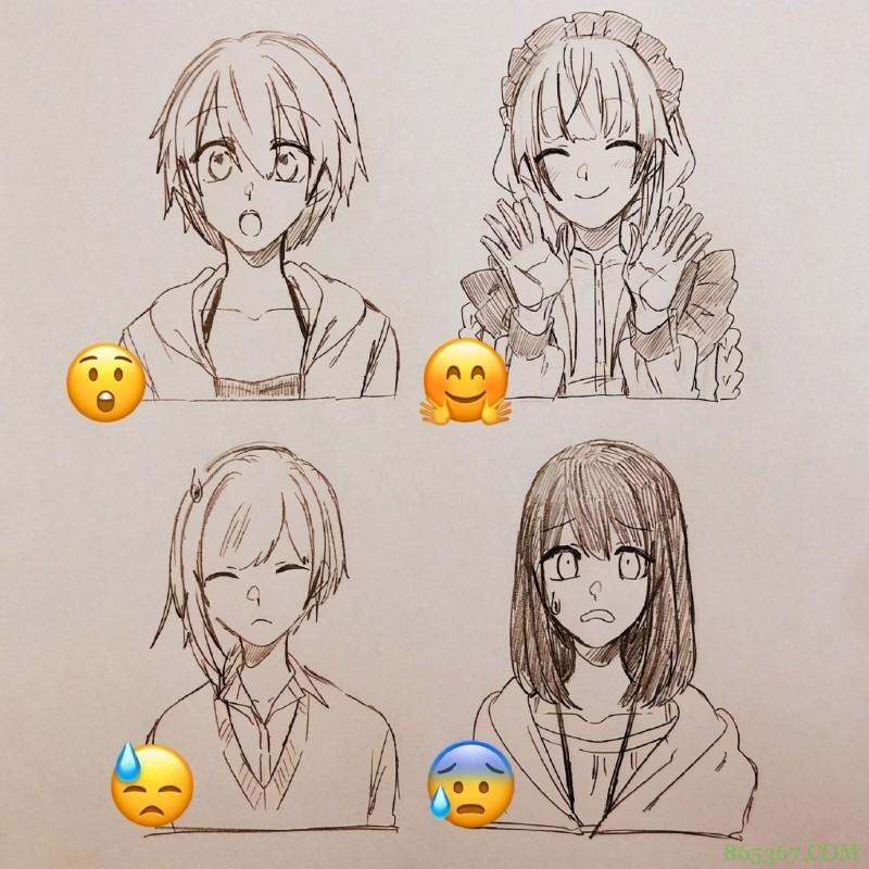 日本画师绘制表情拟人,小黄脸变身帅哥美女,每一个都好传神