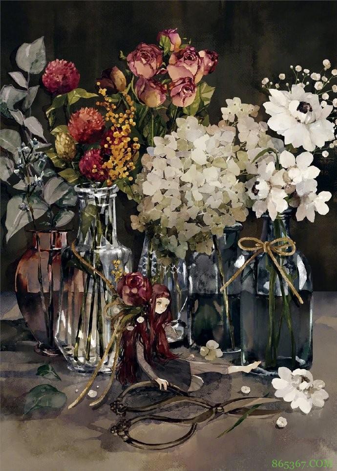画师大佬笔下的花与少女太治愈了,看着好有春天的感觉