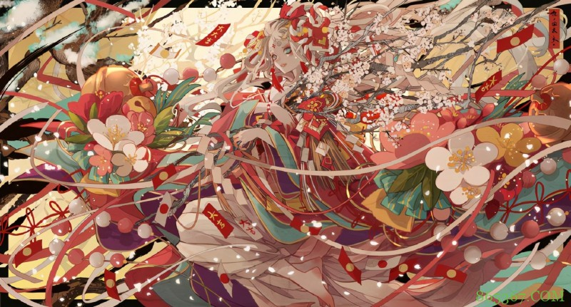 七原老师笔下的花朵拟人,妹子和花儿们融为一体,人与花争俏