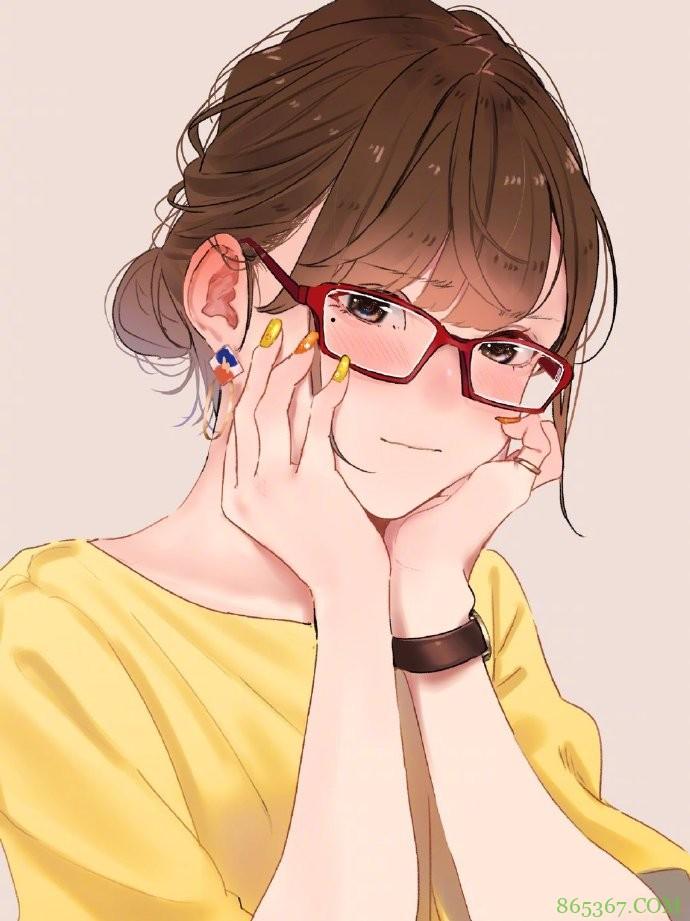 总感觉戴上眼镜有一种独特的气质,画师大佬画了一堆这样的妹子